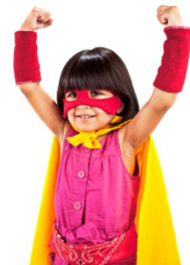 Superhero girl with cape